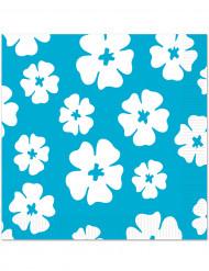 16 Serviettes en papier Bleu Hibiscus 33 x 33 cm