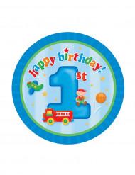 8 Petites assiettes en carton Petit camion 1er anniversaire 18 cm