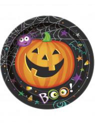 8 Assiettes en carton Petite Citrouille Halloween 23 cm