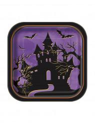 10 Petites assiettes carrées en carton Nuit d'Halloween 18 cm