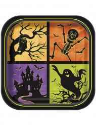 8 Assiettes carrées en carton Nuit d'Halloween 23 cm