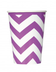 6 Gobelets en carton Chevrons Violet 340 ml