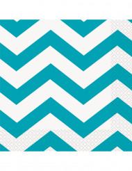 16 Serviettes en papier Chevron Turquoise 33 x 33 cm