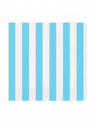 16 Petites Serviettes en papier à Rayures Bleues 25 x 25 cm