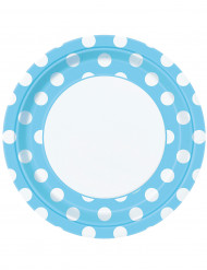 8 Assiettes bleu clair à pois blancs en carton 22 cm