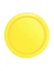 20 Petites assiettes jaune doux en carton 17 cm