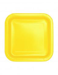 16 Petites assiettes carrées jaune doux en carton 17 cm