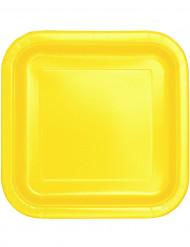 14 Assiettes carrées jaune doux en carton 22 cm