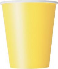 8 Gobelets jaune doux en carton 270 ml
