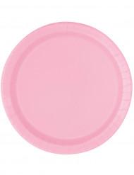 16 Assiettes en carton rose clair 23 cm