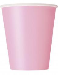 14 Gobelets en carton rose poudré 266 ml