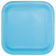 14 Assiettes carrées en carton bleu pastel 22 cm