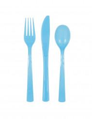 18 Couverts en plastique bleu pastel