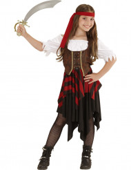 Déguisement pirate corset marron et noir fille