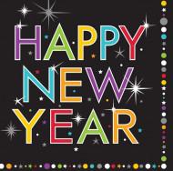 16 Petites Serviettes en papier Happy New Year