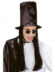 Chapeau haut de forme avec cheveux noirs adulte Halloween