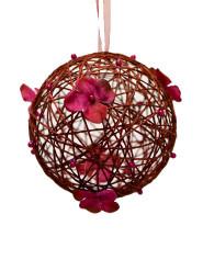 Boule de décoration à suspendre bordeaux  avec fleurs 12 cm