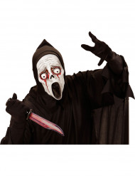 Masque fantôme à capuche yeux sanglants adulte Halloween