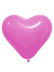 12 Ballons en latex cœur rose fuchsia 28 cm