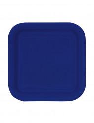 16 Petites assiettes en carton carrées bleu marine 18 cm