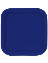 14 Assiettes carrées en carton bleues marines 23 cm