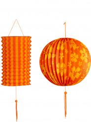 2 Lanternes oranges et jaunes Hawaï