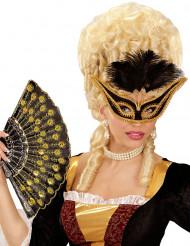 Loup baroque avec plumettes noires femme