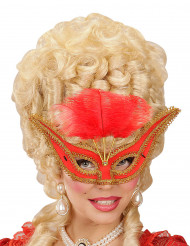 Loup baroque avec plumettes rouges femme