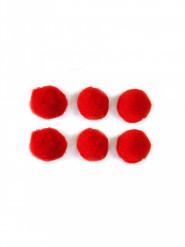50 Mini pompons rouges