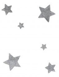 6 Décorations de table étoiles à paillettes argent 2,5, 4,5 et 7,5 cm