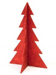 Décoration sapin de Noël rouge pailleté 19 cm