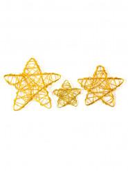 6 Etoiles assorties en métal doré 3, 4,5 et 6 cm