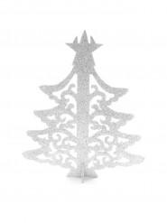 Arbre de Noël marque-place blanc 7,3 x 9 cm