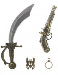 Kit de pirate en plastique - Sabre pistolet insigne et boucle d'oreilles Enfant