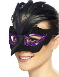 Loup corbeau noir avec sequins violets femme