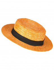 Chapeau paille canotier orange