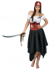 Déguisement pirate à rayures noires et rouges femme