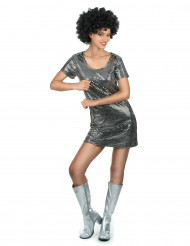 Déguisement robe disco argentée femme