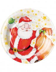 8 Assiettes en carton Père Noël et sa hotte 23 cm