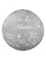 Ballon géant Vive les mariés argenté 1 mètre