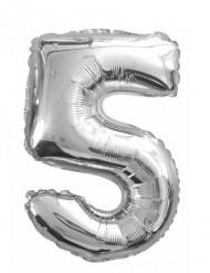 Ballon aluminium chiffre 5 argenté 35 cm