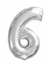 Ballon aluminium chiffre 6 argenté 35 cm