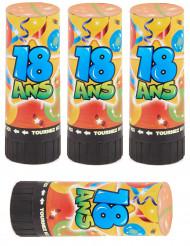 4 Canons à confettis et serpentins anniversaire 18 ans