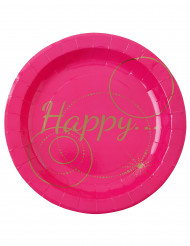 10 Assiettes en carton Happy fuschia 22.5 cm