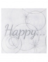 20 Serviettes en papier Happy blanches