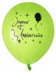 8 Ballons en latex Joyeux anniversaire verts 23 cm