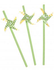 3 Pailles moulin à vent jaune et verte