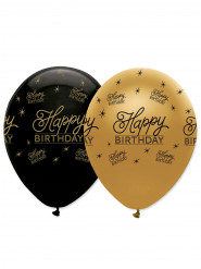 6 Ballons en latex Happy Birthday noirs et dorés 30 cm