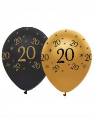 6 Ballons en latex 20 ans noirs et dorés 30 cm