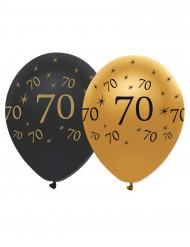 6 Ballons en latex 70 ans noirs et dorés 30 cm